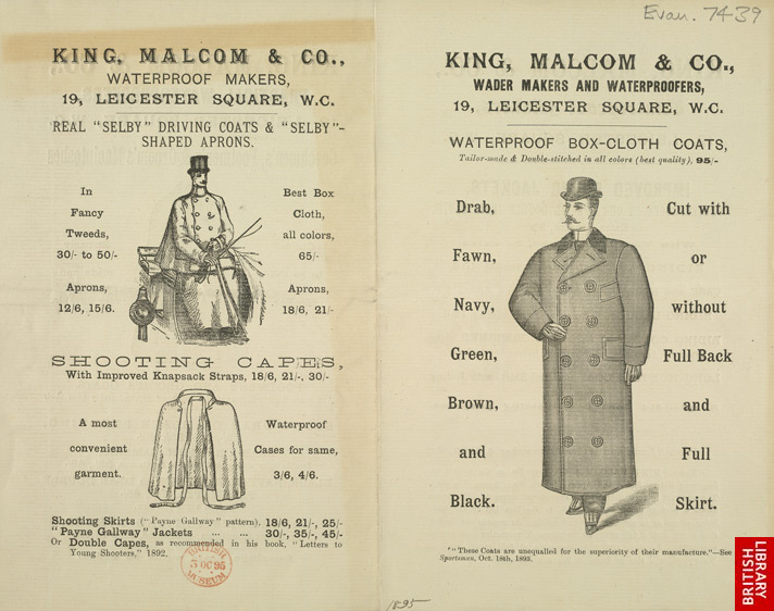 Advertisement for King, Malcom & Company's men's clothes